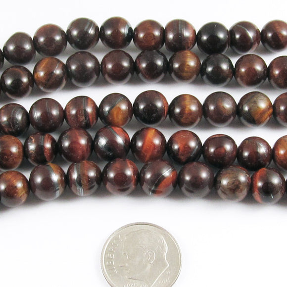 Round Gemstone Beads-Red Tiger Eye 15