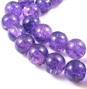 Purple 10mm Round Glass Crackle Beads (30 Pieces)