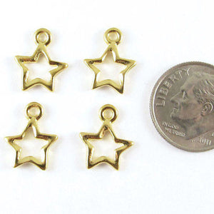 Gold Open Star Charms, TierraCast Pewter Celestial, Space Charm (4 Pieces)
