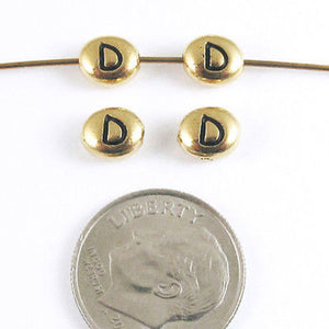 "TierraCast Pewter Oval Pebble Alphabet Beads-GOLD LETTER ""D"" (4)"