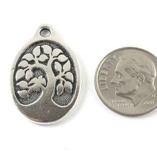 TierraCast Pewter Pendant-Silver Bird in a Tree (1 Piece)