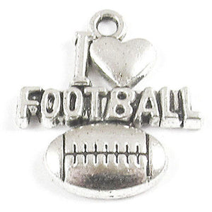 "I ""Heart"" Football Silver Metal Sports Charms 19x20mm (20 Pieces)"