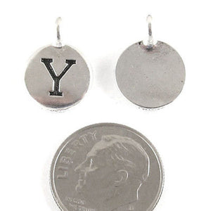 "TierraCast Pewter Initial Charms-Silver Round Letter ""Y"" 12x16mm (2)"