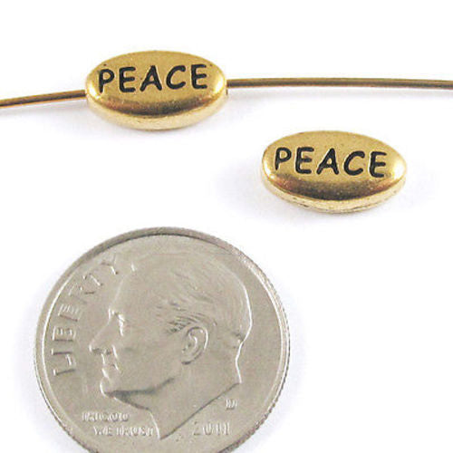 TierraCast Pewter Oval Word Beads-GOLD PEACE (2)
