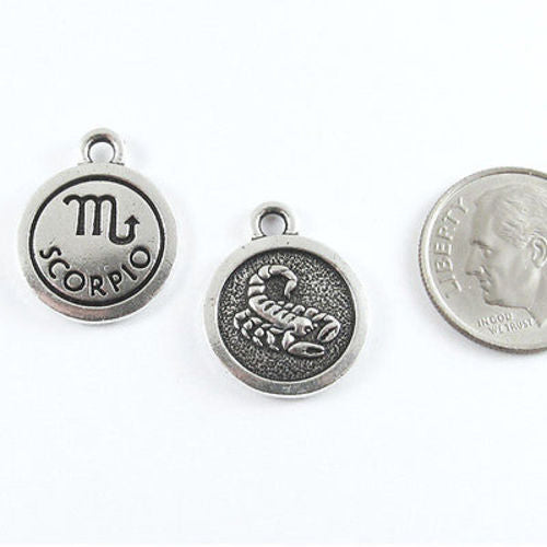 TierraCast Double Sided Pewter Zodiac Charms-SILVER SCORPIO (2 Pieces)