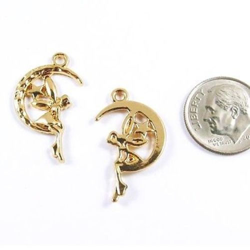 Gold Metal Fairy Moon Charms, Bright Gold Fantasy Pendant (2 Pieces)