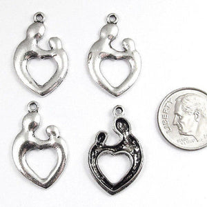 Silver Metal Charms - MOTHER & CHILD HEART 15x25mm (20 Pieces)