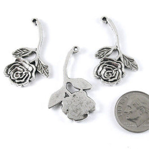 Metal Pendant Charms-Silver Long Stem Rose 20x35mm (12 Pcs)