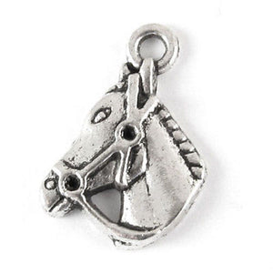 Metal Animal Charms-SILVER HORSE HEAD 12x18mm (15 Pieces)