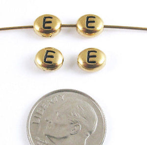 "TierraCast Pewter Oval Pebble Alphabet Beads-GOLD LETTER ""E"" (4)"