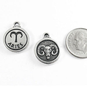 Silver ARIES  Zodiac Charm TierraCast Double Sided Pewter (2 Pieces)