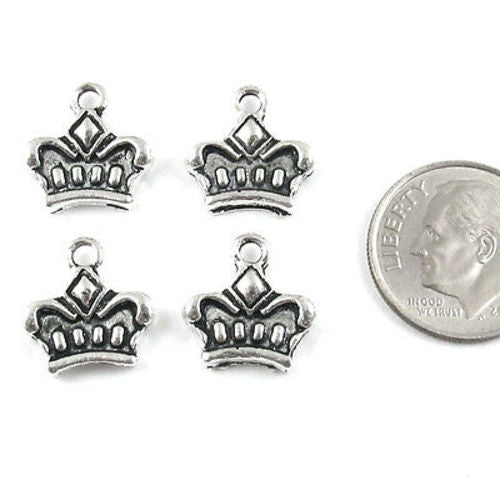 Silver Crown Charms, Double Sided Metal Fairy Tale, Fantasy Charm (20 Pieces)