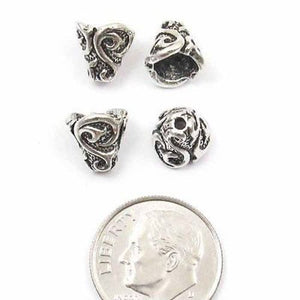 Silver Lily Cone, TierraCast Pewter Bead Bell Caps (4 Pieces)