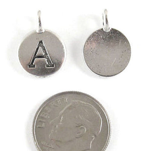 "TierraCast Pewter Initial Charms-Silver Round Letter ""A"" 12x16mm (2 Pieces)"