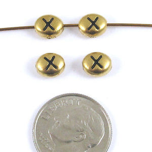 "TierraCast Pewter Oval Pebble Alphabet Beads-GOLD LETTER ""X"" (4)"