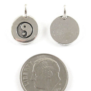 Silver Round Yin Yang Charms, TierraCast Pewter, Zen Yoga Symbol (2 Pieces)
