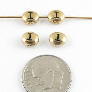 "TierraCast Pewter Oval Pebble Alphabet Beads-GOLD LETTER ""I"" (4)"