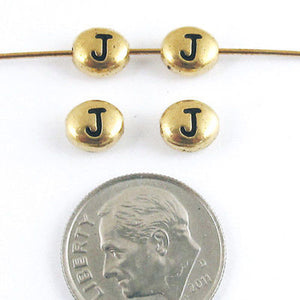 "TierraCast Pewter Oval Pebble Alphabet Beads-GOLD LETTER ""J"" (4)"