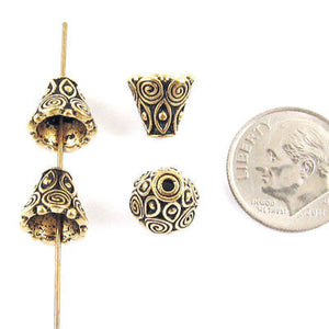 Gold Spiral Cones, TierraCast Pewter Ornate Bead Bell Caps (4 Pieces)