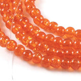 Round Glass Crackle Beads-ORANGE 4mm (200)