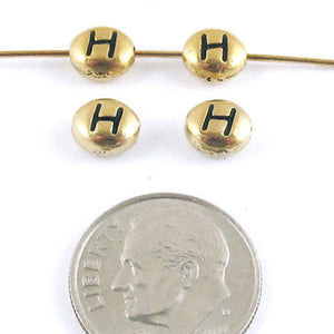 "TierraCast Pewter Oval Pebble Alphabet Beads-GOLD LETTER ""H"" (4)"