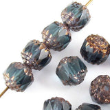 Faceted Czech Crown Cathedral Beads-MONTANA BLUE 8mm (12)
