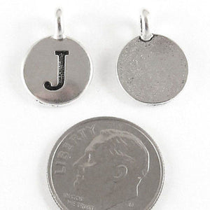 "TierraCast Pewter Initial Charms-Silver Round Letter ""J"" 12x16mm (2)"