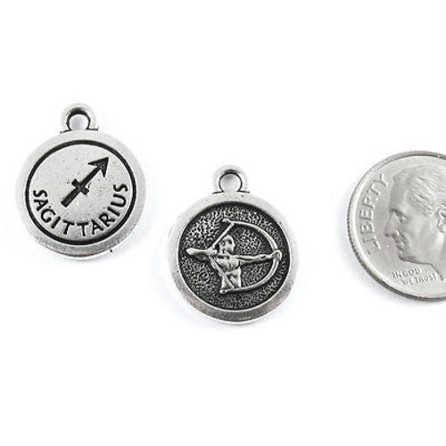 TierraCast Double Sided Pewter Zodiac Charms-SILVER SAGITTARIUS (2 Pieces)