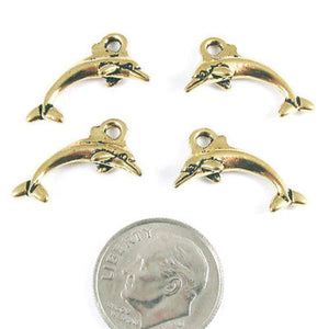 TierraCast Pewter Charms-GOLD DOLPHIN (4 Pieces)