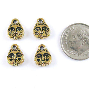 Gold Cat Face Charms TierraCast Pewter Kitty Animal (4 Pieces)