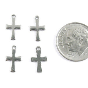 Stainless Steel Charms-SILVER MINI CROSS 7x12mm (15 Pieces)