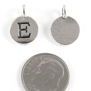 "TierraCast Pewter Initial Charms-Silver Round Letter ""E"" 12x16mm (2)"