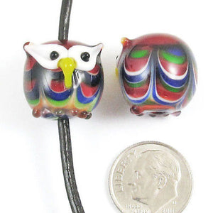 Lampwork Glass Pendant Bead-COLORFUL WIDE EYED OWL (1 Piece)