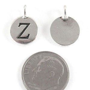"TierraCast Pewter Initial Charms-Silver Round Letter ""Z"" 12x16mm (2)"