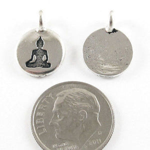 Silver Round Buddha Charms, TierraCast Yoga Meditation Charm (2 Pieces)