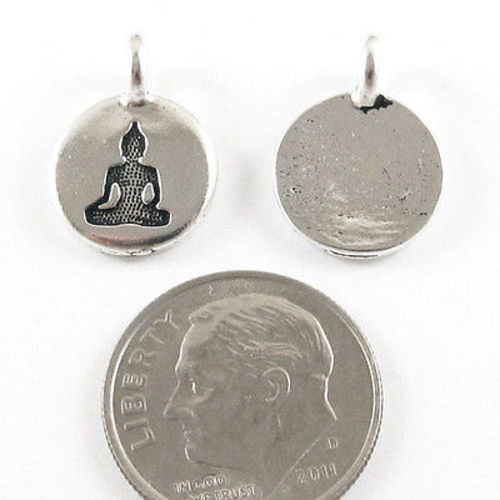TierraCast Pewter Charms-SILVER ROUND BUDDHA 12x16mm (2)