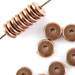 Copper 7mm Disk Spacer, TierraCast Lead-Free Pewter Beads (25 Pieces)