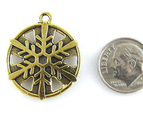 TierraCast Pewter Winter Pendant-GOLD SNOWFLAKE 1