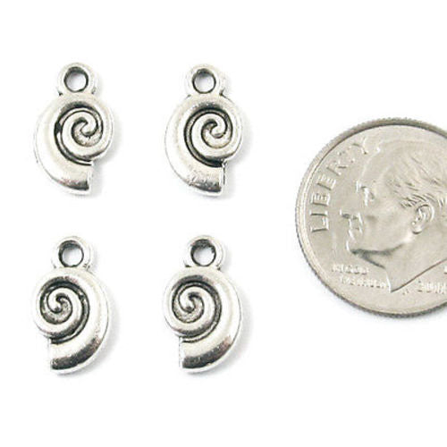 Metal Double Sided Charms-Silver Spiral Snail Shell 7x12mm (25 Pieces)