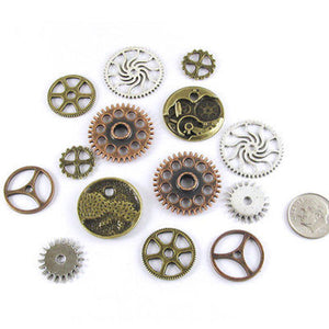 Mixed Metal Steampunk Gear Connector Mix-SILVER, COPPER & BRONZE (14 Pcs)
