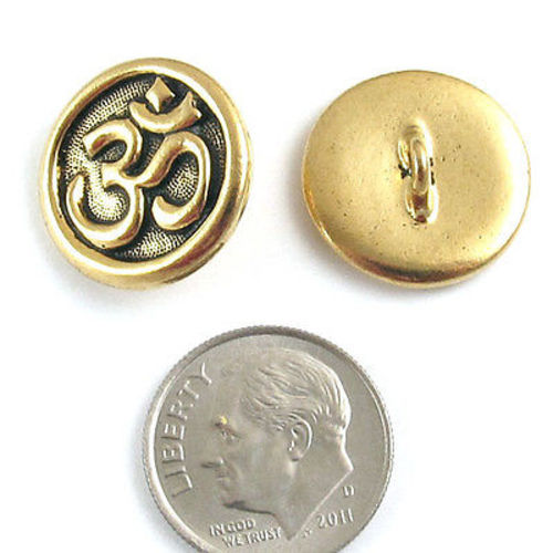 Gold Plated Ohm Button TierraCast Pewter Ohm Symbol (2 Pieces)