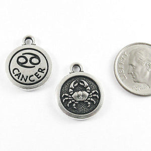 TierraCast Double Sided Pewter Zodiac Charms-SILVER CANCER (2 Pieces)