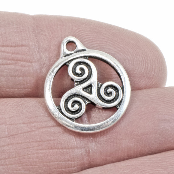 Silver Triple Spiral Charms, TierraCast Open Celtic Triskele 2/Pkg