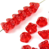 Siam Red Bell Flower Beads, Czech Glass 6x8mm (25 Pieces)