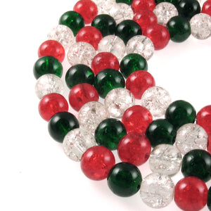 Bright Red, Green & Clear Glass Crackle Beads | Christmas Bead Mix 8mm 150/Pkg