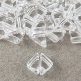 Czech Glass 2-Hole Triangle Beads-TANGO CRYSTAL CLEAR 6mm (50)