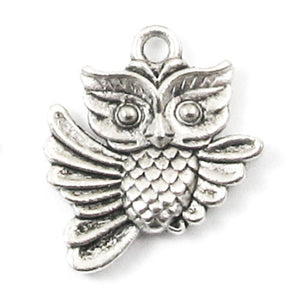 Silver Flying Owl Charms, Double Sided Metal Animal Charms (20 Pieces)