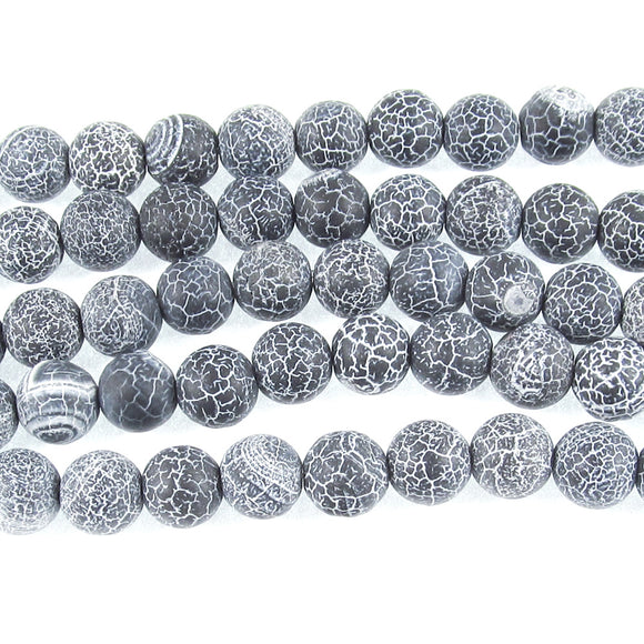 Black 8mm Frosted Crackle Dragon Vein Agate Gemstone Beads (48 Pcs)