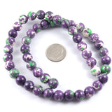Purple Rain Flower Stone Beads,  8mm Gemstone Beads, 48 Pieces/Strand