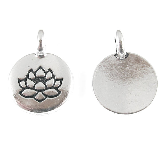 Silver Round Lotus Flower Charm, TierraCast Lead Free Pewter (10 Pieces)